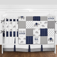 Navy Blue Grey And White Patchwork Gray Elephant Baby Boy Crib Bedding Set With Bumper