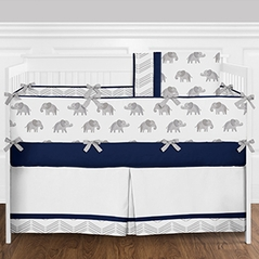 Navy Blue, Grey and White Watercolor Elephant and Chevron Baby Boy Crib Bedding Set with Bumper by Sweet Jojo Designs - 9 pieces