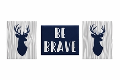 Navy Blue, Grey and White Woodland Deer Wall Art Room Decor Hangings for Baby, Nursery, Kids and Childrens Woodsy Collection by Sweet Jojo Designs - Set of 3