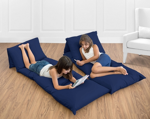 Navy Blue Kids Teen Floor Pillow Case Lounger Cushion Cover by Sweet Jojo Designs - Click to enlarge