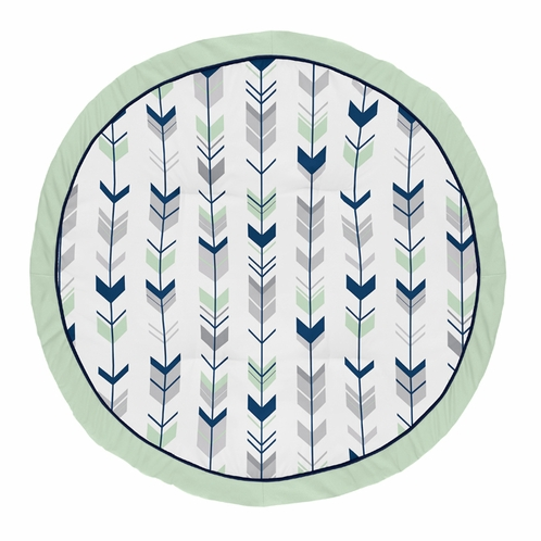 Navy Blue, Mint and Grey Woodland Arrow Playmat Tummy Time Baby and Infant Play Mat for Woodsy Collection by Sweet Jojo Designs - Click to enlarge