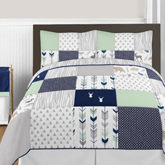 Navy Blue, Mint and Grey Woodsy Deer 3pc Boy Full / Queen Bedding Set by Sweet Jojo Designs