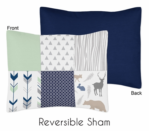 Standard Pillow Sham for Navy, Mint and Grey Woodsy Bedding by Sweet Jojo Designs - Click to enlarge