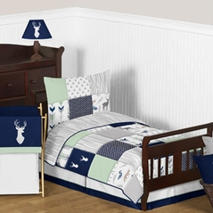 Navy Blue, Mint and Grey Woodsy Deer Boy Toddler Bedding - 5pc Set by Sweet Jojo Designs