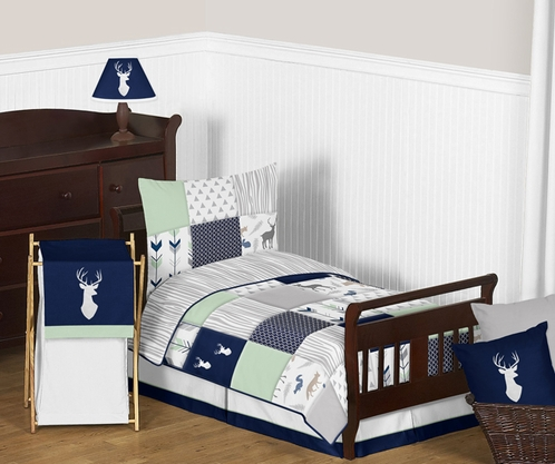 Navy Blue, Mint And Grey Woodsy Deer Boy Toddler Bedding   5pc Set By Sweet