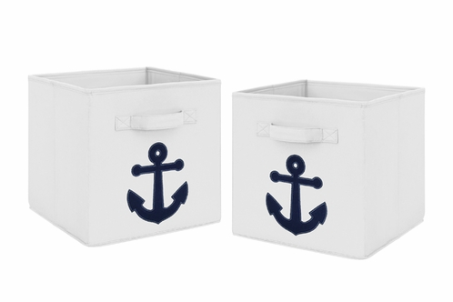 Navy Blue Nautical Anchor Foldable Fabric Storage Cube Bins Boxes Organizer Toys Kids Baby Childrens for Anchors Away Collection by Sweet Jojo Designs - Set of 2 - Click to enlarge