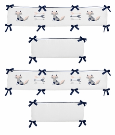 Navy Blue, Pink, and Grey Baby Crib Bumper Pad for Woodland Fox and Arrow Collection by Sweet Jojo Designs