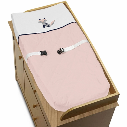 Navy Blue, Pink, and Grey Changing Pad Cover for Woodland Fox Collection by Sweet Jojo Designs - Click to enlarge