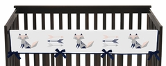 Navy Blue, Pink, and Grey Long Front Crib Rail Guard Baby Teething Cover Protector Wrap for Woodland Fox and Arrow Collection by Sweet Jojo Designs