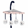 Navy Blue, Pink, and Grey Musical Baby Crib Mobile for Woodland Fox and Arrow Collection by Sweet Jojo Designs