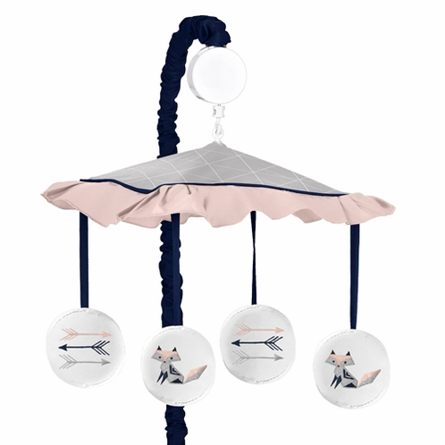 Navy Blue, Pink, and Grey Musical Baby Crib Mobile for Woodland Fox and Arrow Collection by Sweet Jojo Designs - Click to enlarge