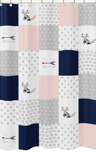Navy Blue Pink And Grey Patchwork Bathroom Fabric Bath Shower Curtain For Woodland Fox