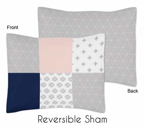 Navy Blue, Pink, and Grey Patchwork Standard Pillow Sham for Woodland Fox Collection by Sweet Jojo Designs - Click to enlarge
