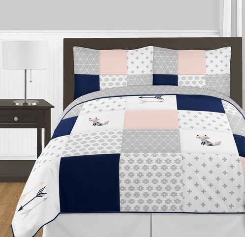 Navy Blue, Pink, and Grey Patchwork Woodland Fox and Arrow Girl Full / Queen Kid Childrens Bedding Comforter Set by Sweet Jojo Designs - 3 pieces - Click to enlarge