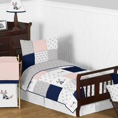 Navy Blue, Pink, and Grey Patchwork Woodland Fox and Arrow Girl Toddler Kid Childrens Bedding Set by Sweet Jojo Designs - 5 pieces Comforter, Sham and Sheets