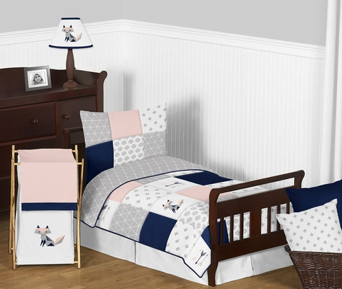 Navy Blue, Pink, and Grey Patchwork Woodland Fox and Arrow Girl Toddler Kid Childrens Bedding Set by Sweet Jojo Designs - 5 pieces Comforter, Sham and Sheets - Click to enlarge