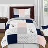 Navy Blue, Pink, and Grey Patchwork Woodland Fox and Arrow Girl Twin Kid Childrens Bedding Comforter Set by Sweet Jojo Designs - 4 pieces