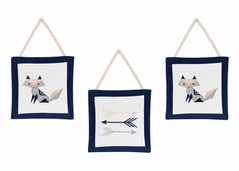 Navy Blue, Pink, and Grey Wall Hanging Decor for Woodland Fox and Arrow Collection by Sweet Jojo Designs - Set of 3