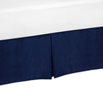 Navy Queen Bed Skirt for Modern Blue and Orange Stripe Bedding Sets