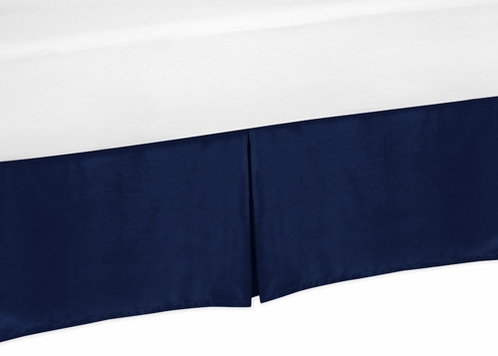 Navy Queen Bed Skirt for Modern Blue and Orange Stripe Bedding Sets - Click to enlarge