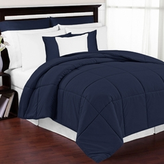 Navy Down-Alternative Comforter <br> Available in Twin, Queen & King Sizes