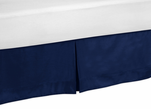 Navy King Bed Skirt for Modern Blue and Lime Stripe Bedding Sets by Sweet Jojo Designs - Click to enlarge
