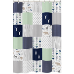 Navy, Mint and Grey Woodsy Kids Bathroom Fabric Bath Shower Curtain by Sweet Jojo Designs