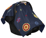 Navy Space Galaxy Baby Infant Car Seat Carrier Stroller Cover by Sweet Jojo Designs