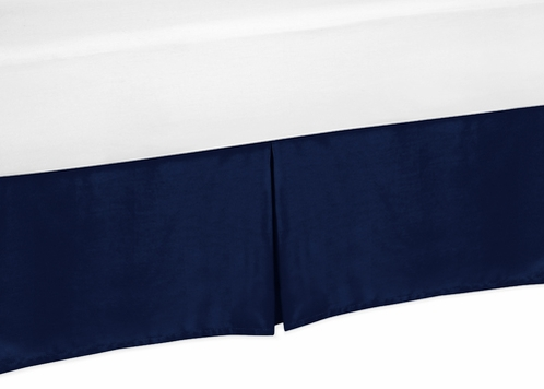 Navy Toddler Bed Skirt for Navy and White Chevron Kids Childrens Bedding Sets - Click to enlarge