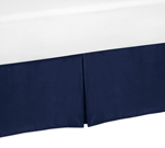 Navy Blue Queen Bed Skirt for Plaid Bedding Sets