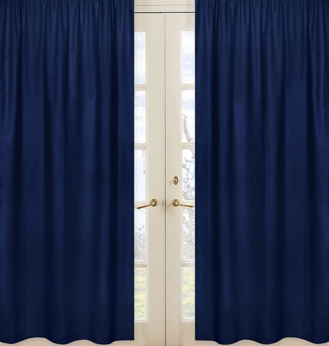 Navy Window Treatment Panels for Navy and White Chevron Collection- Set of 2 - Click to enlarge