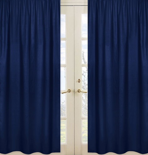 Navy Window Treatment Panels for Navy Blue and Orange Stripe Collection - Set of 2 - Click to enlarge