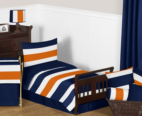 Navy Blue and Orange Stripe Toddler Bedding - 5pc Set by Sweet Jojo Designs - Click to enlarge