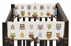 Night Owl Baby Crib Side Rail Guard Covers by Sweet Jojo Designs - Set of 2