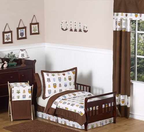 Night Owl Toddler Bedding - 5 pc Set - Click to enlarge