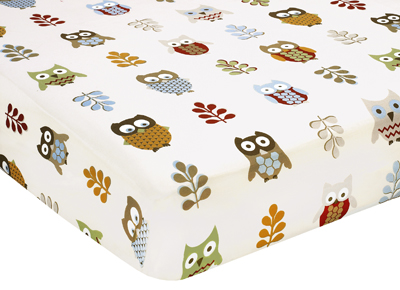 Night Owl Fitted Crib Sheet for Baby/Toddler Bedding - Owl Print - Click to enlarge
