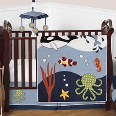 Ocean Blue Sea Life Baby Bedding - 4pc Crib Set by Sweet Jojo Designs