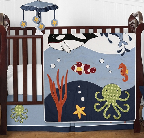 Ocean Blue Sea Life Baby Bedding - 4pc Crib Set by Sweet Jojo Designs - Click to enlarge