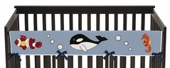 Ocean Blue Sea Life Baby Crib Long Rail Guard Cover by Sweet Jojo Designs
