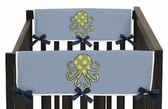 Ocean Blue Sea Life Baby Crib Side Rail Guard Covers by Sweet Jojo Designs - Set of 2
