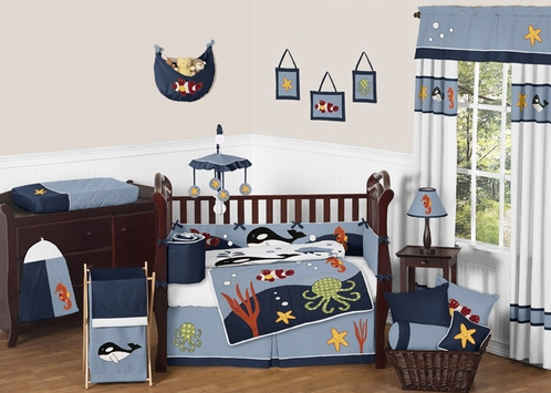 Ocean Blue Sea Life Baby Bedding - 9pc Crib Set by Sweet Jojo Designs - Click to enlarge