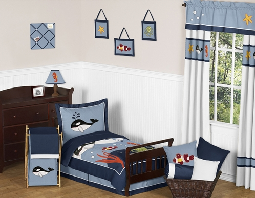 Ocean Blue Sea Life Toddler Bedding - 5pc Set by Sweet Jojo Designs - Click to enlarge