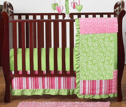 Olivia Girls Boutique Pink and Green Baby Bedding - 11pc Crib Set by Sweet Jojo Designs - Click to enlarge