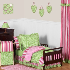 Olivia Girls Boutique Pink and Green Toddler Bedding - 5pc Set by Sweet Jojo Designs