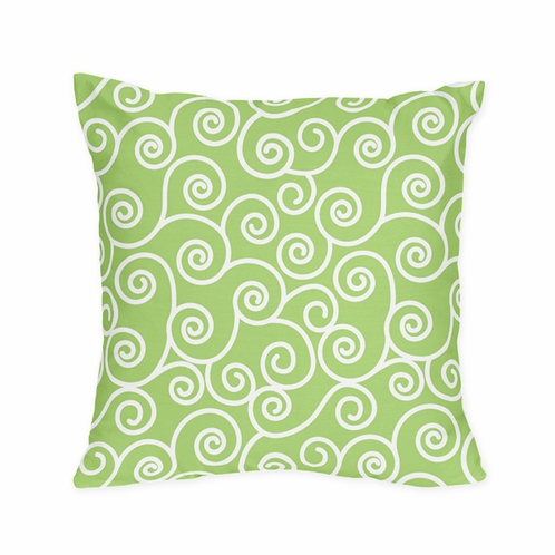 Olivia Green and White Scroll Print Decorative Accent Throw Pillow - Click to enlarge
