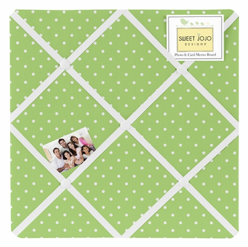 Olivia Lime and White Dot Fabric Memory/Memo Photo Bulletin Board by Sweet Jojo Designs - Click to enlarge