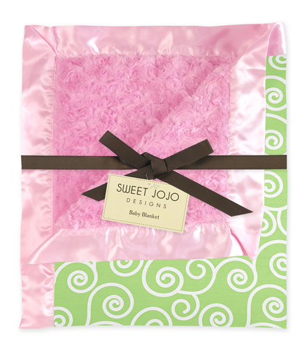 Olivia Minky and Satin Pink and Green Baby Blanket by Sweet Jojo Designs - Click to enlarge