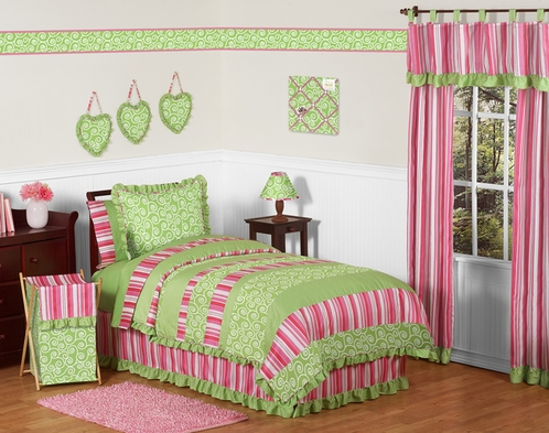 Olivia Pink and Green Girls Kids & Teen Bedding - 4pc Twin Set by Sweet Jojo Designs - Click to enlarge