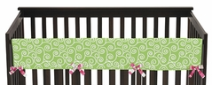 Olivia Pink and Green Baby Crib Long Rail Guard Cover by Sweet Jojo Designs