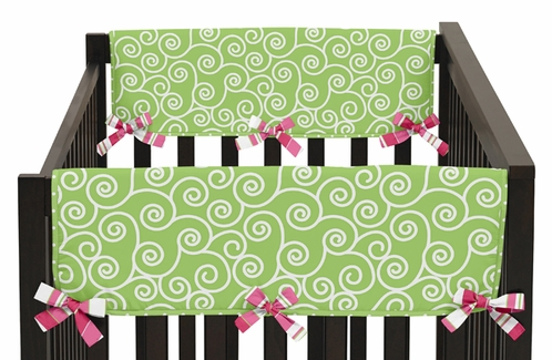 Olivia Pink and Green Baby Crib Side Rail Guard Covers by Sweet Jojo Designs - Set of 2 - Click to enlarge